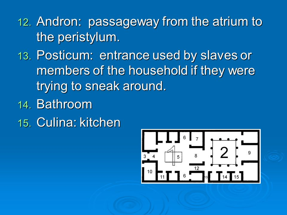 Andron: passageway from the atrium to the peristylum.