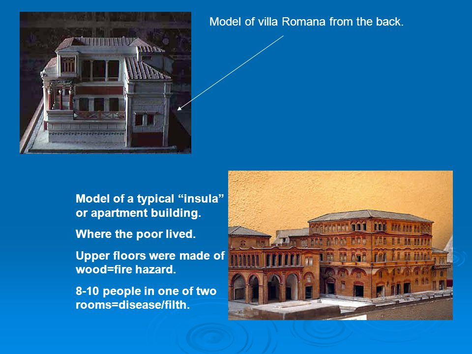 Model of villa Romana from the back.