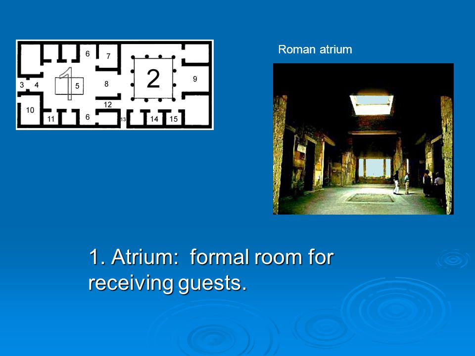 1. Atrium: formal room for receiving guests.