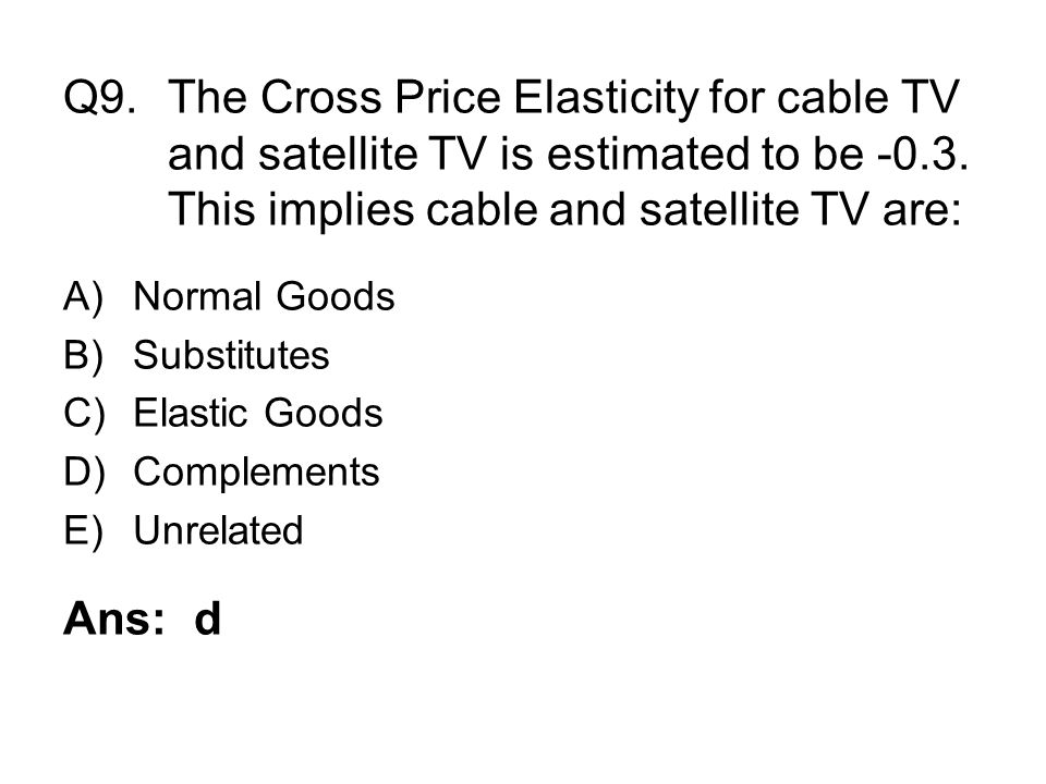 Q9. The Cross Price Elasticity for cable TV
