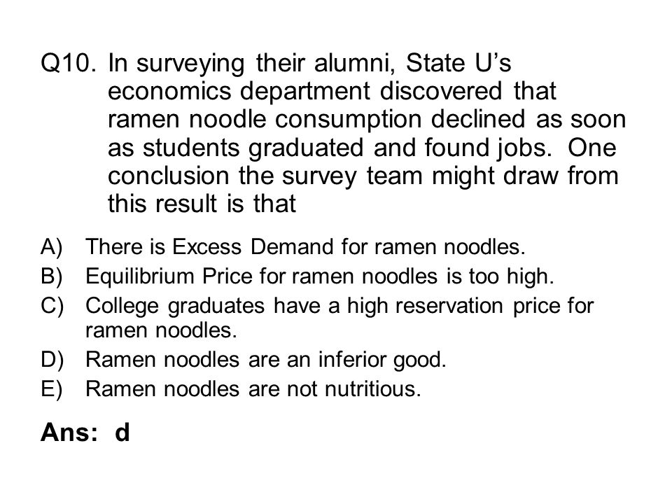 Q10. In surveying their alumni, State U's