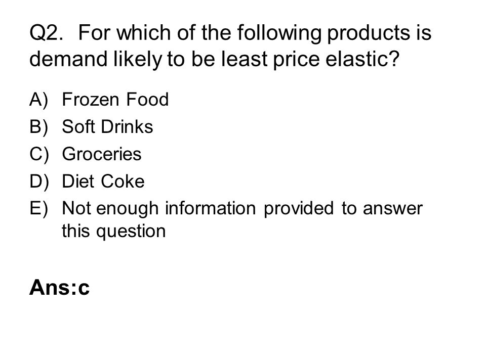 Q2. For which of the following products is demand likely to be least price elastic