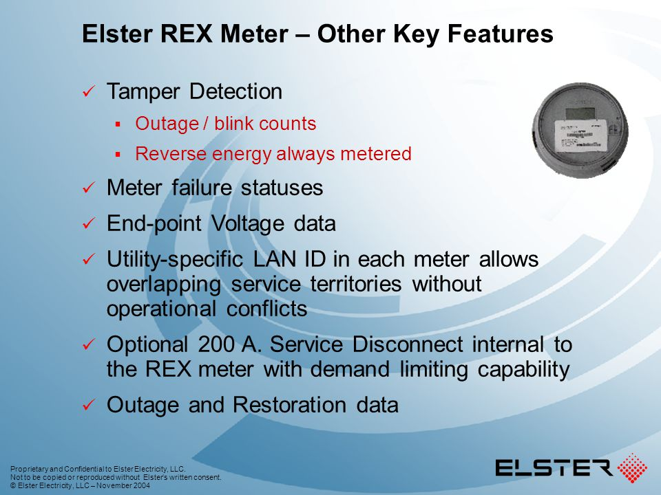 Elster REX Meter – Other Key Features