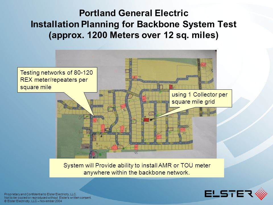 Portland General Electric Installation Planning for Backbone System Test (approx. 1200 Meters over 12 sq. miles)