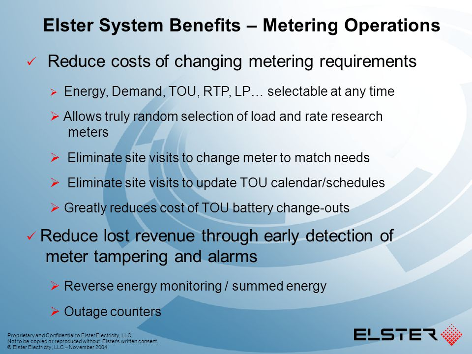 Elster System Benefits – Metering Operations