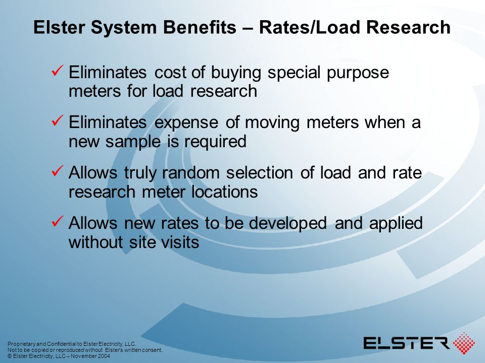 Elster System Benefits – Rates/Load Research