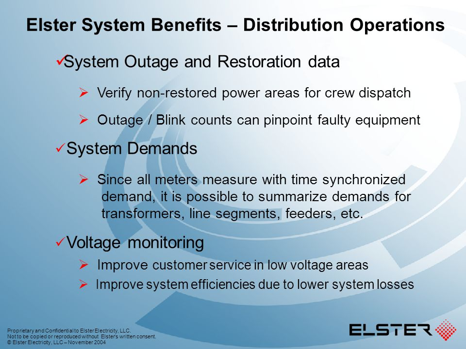 Elster System Benefits – Distribution Operations