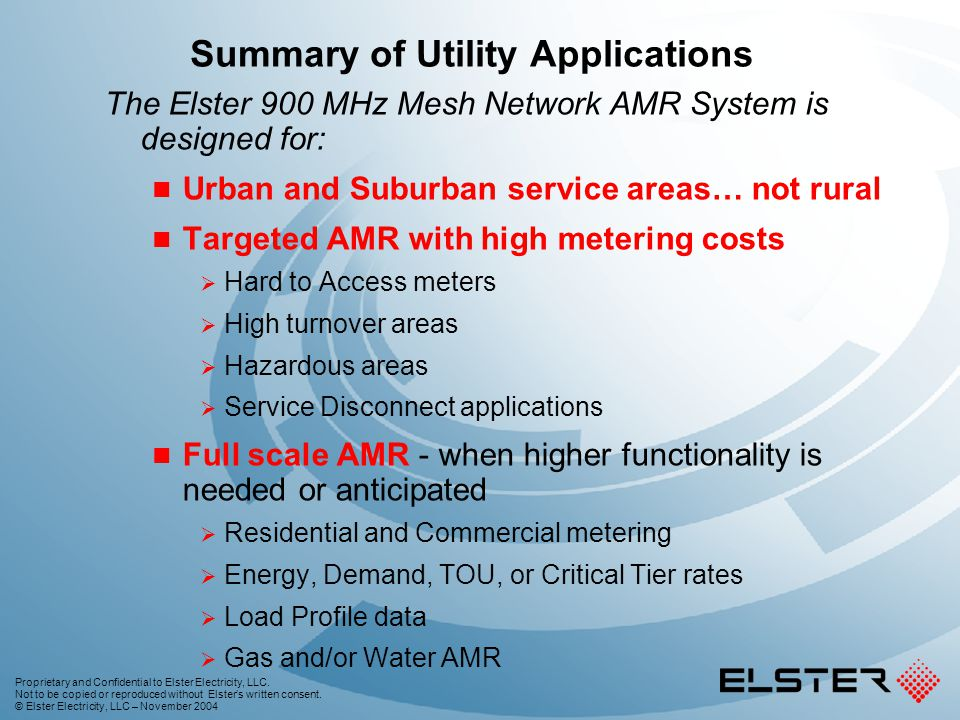 Summary of Utility Applications