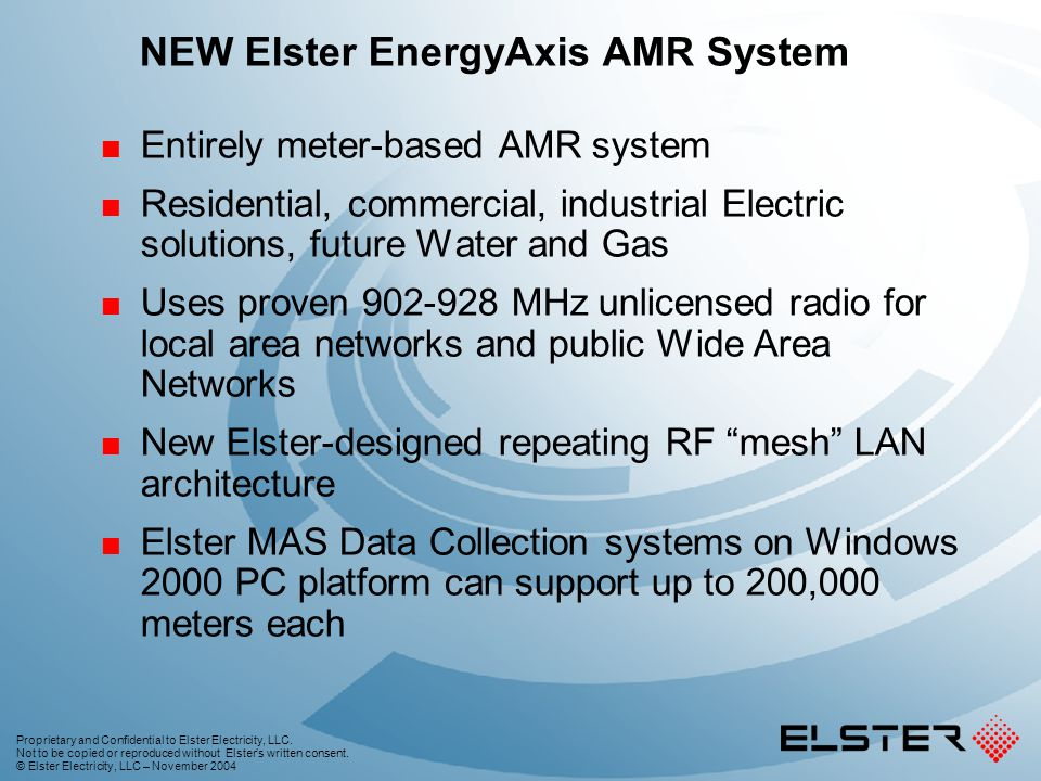 NEW Elster EnergyAxis AMR System