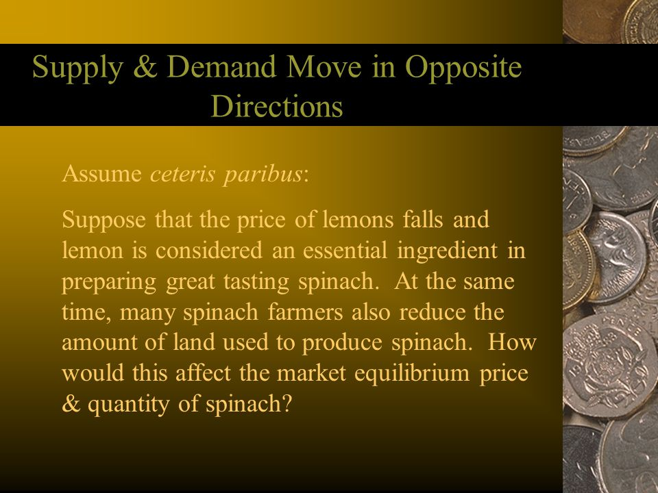 Supply & Demand Move in Opposite Directions