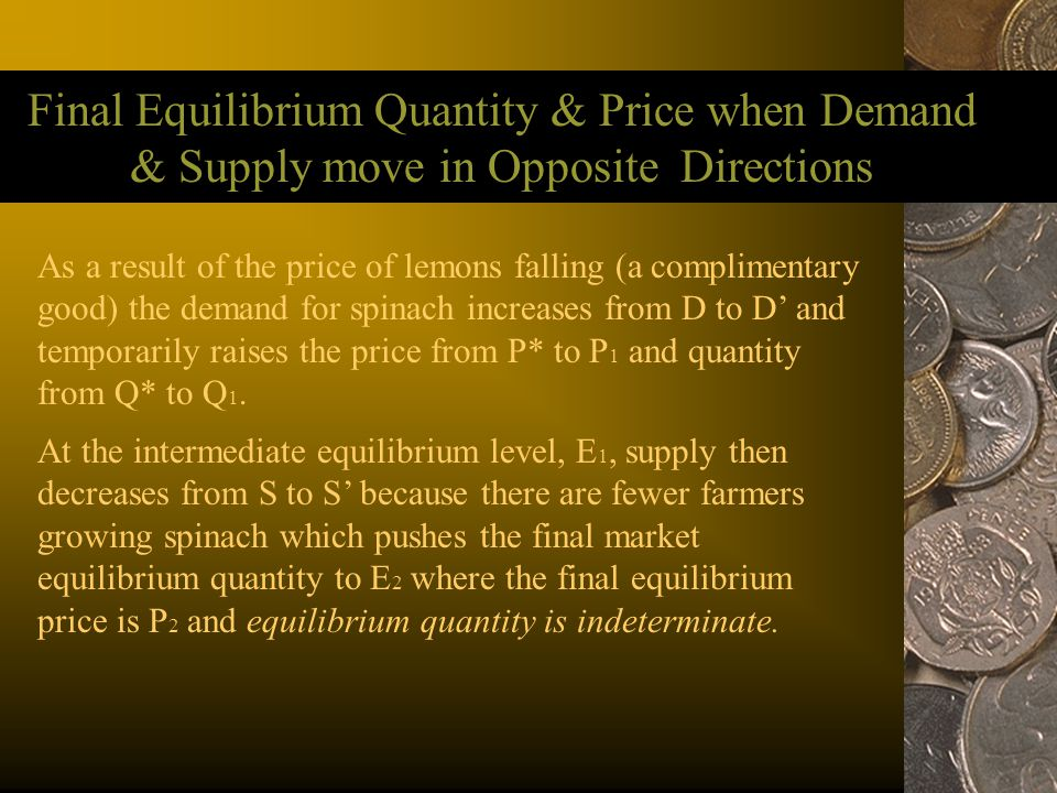 Final Equilibrium Quantity & Price when Demand & Supply move in Opposite Directions