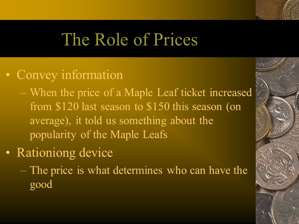 The Role of Prices Convey information Rationiong device