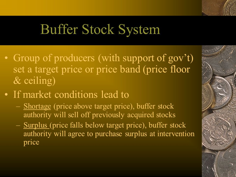 Buffer Stock System Group of producers (with support of gov't) set a target price or price band (price floor & ceiling)