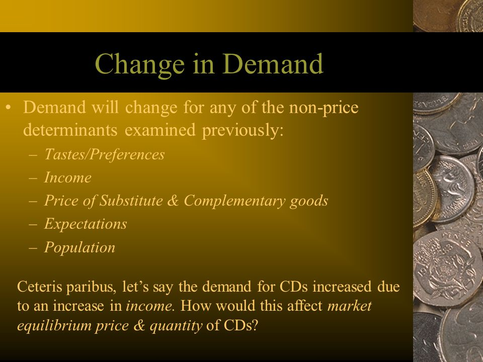 Change in Demand Demand will change for any of the non-price determinants examined previously: Tastes/Preferences.