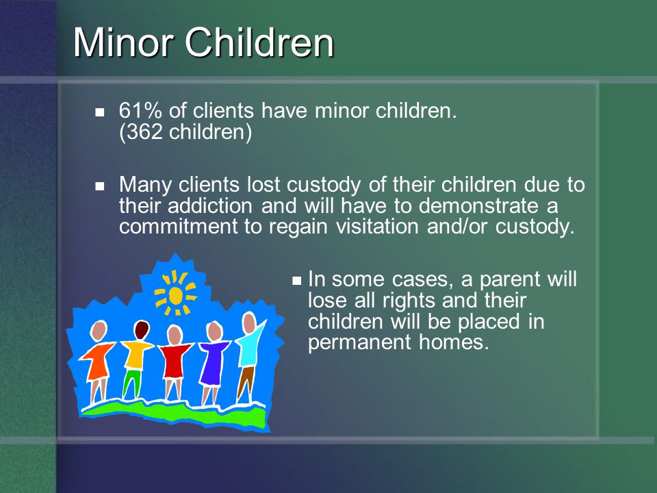 Minor Children 61% of clients have minor children. (362 children)