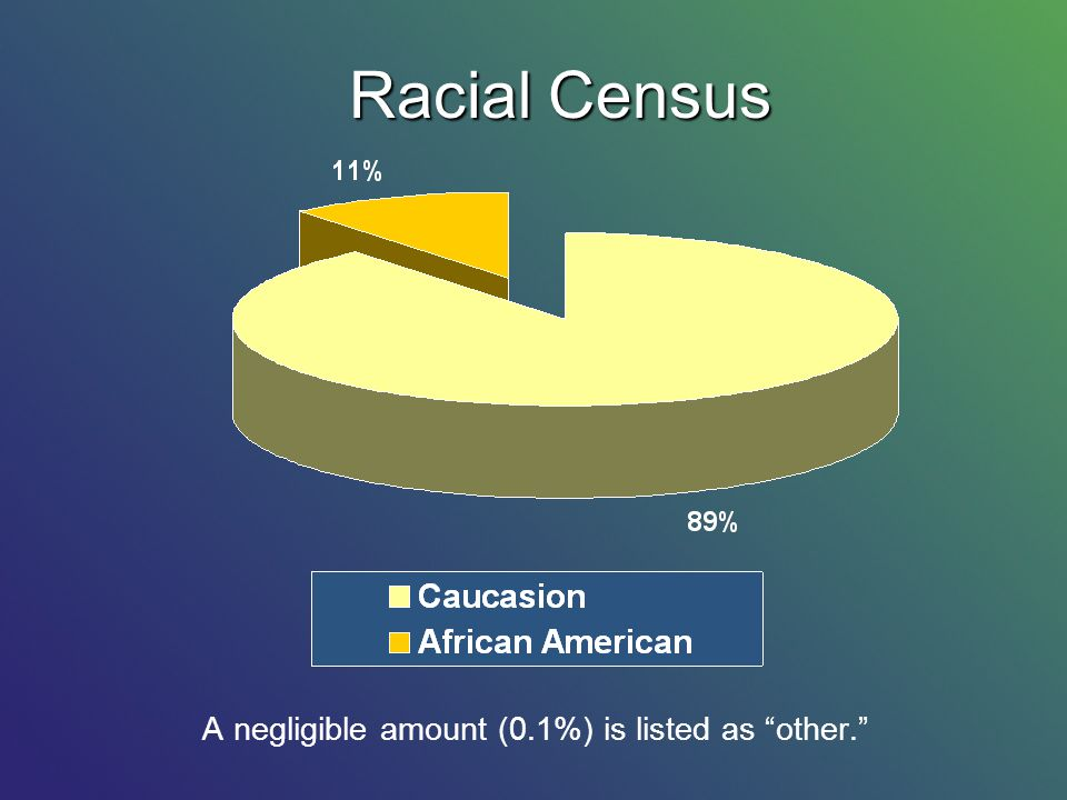 Racial Census A negligible amount (0.1%) is listed as other.
