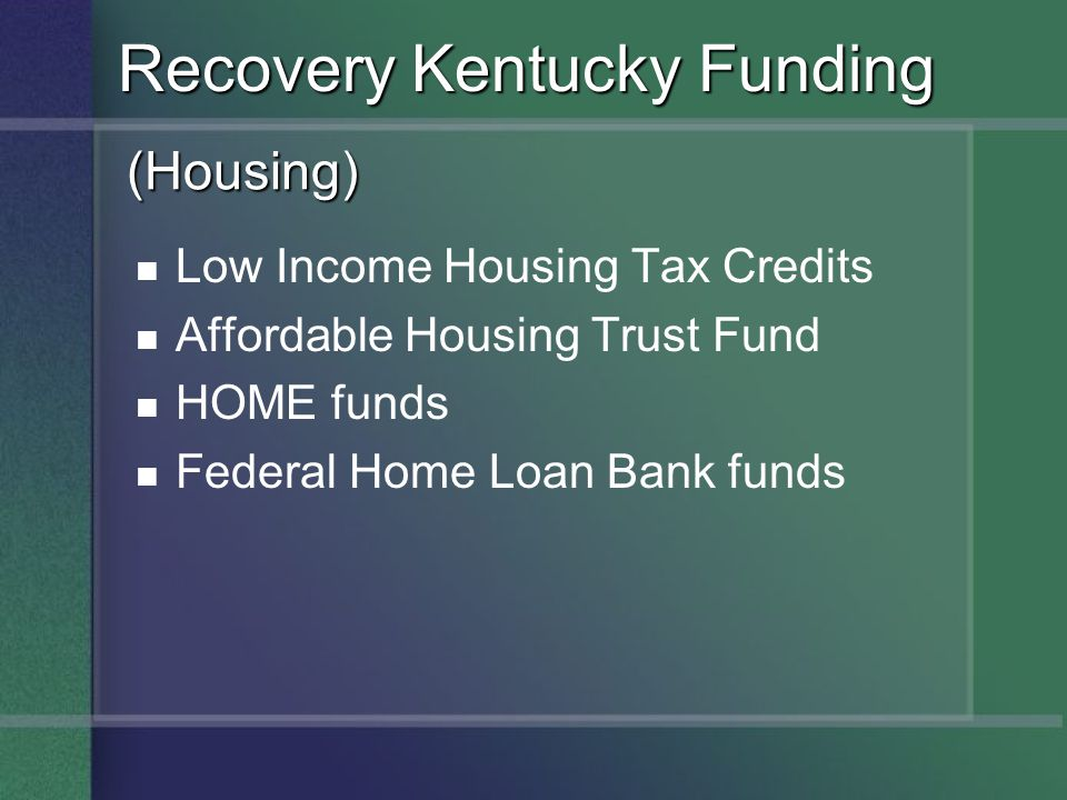 Recovery Kentucky Funding