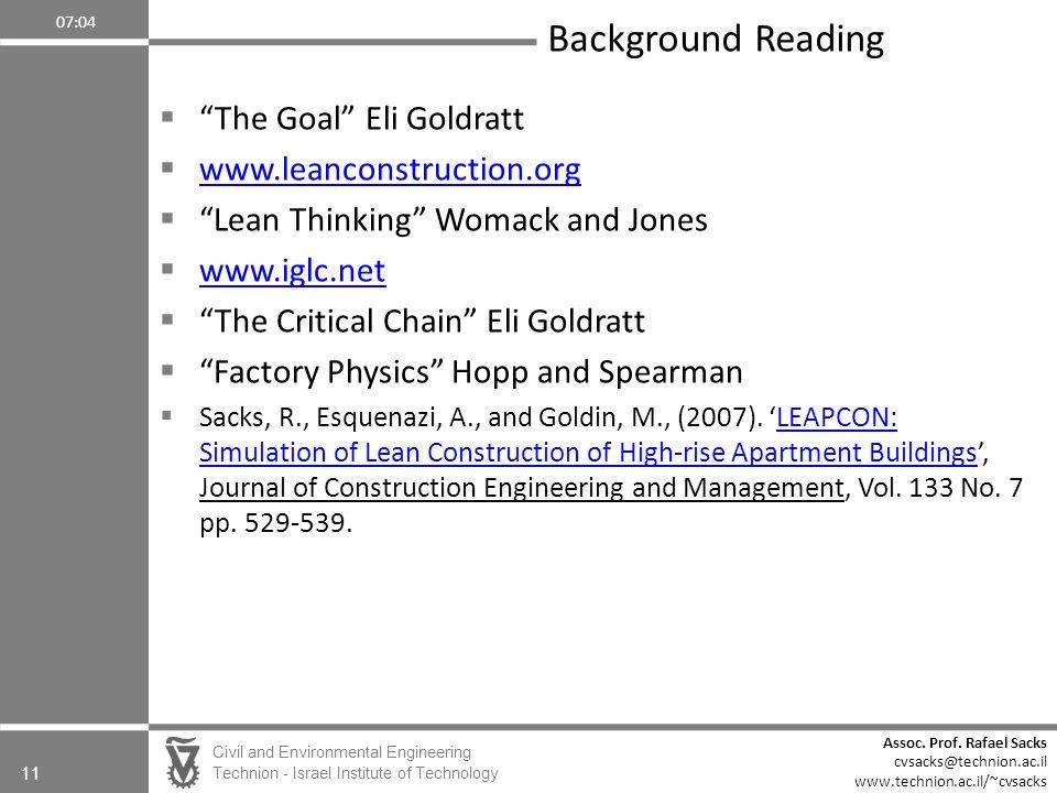 Background Reading The Goal Eli Goldratt www.leanconstruction.org