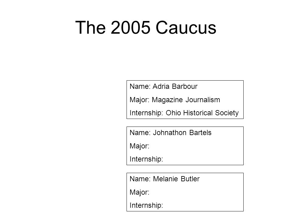 The 2005 Caucus Name: Adria Barbour Major: Magazine Journalism