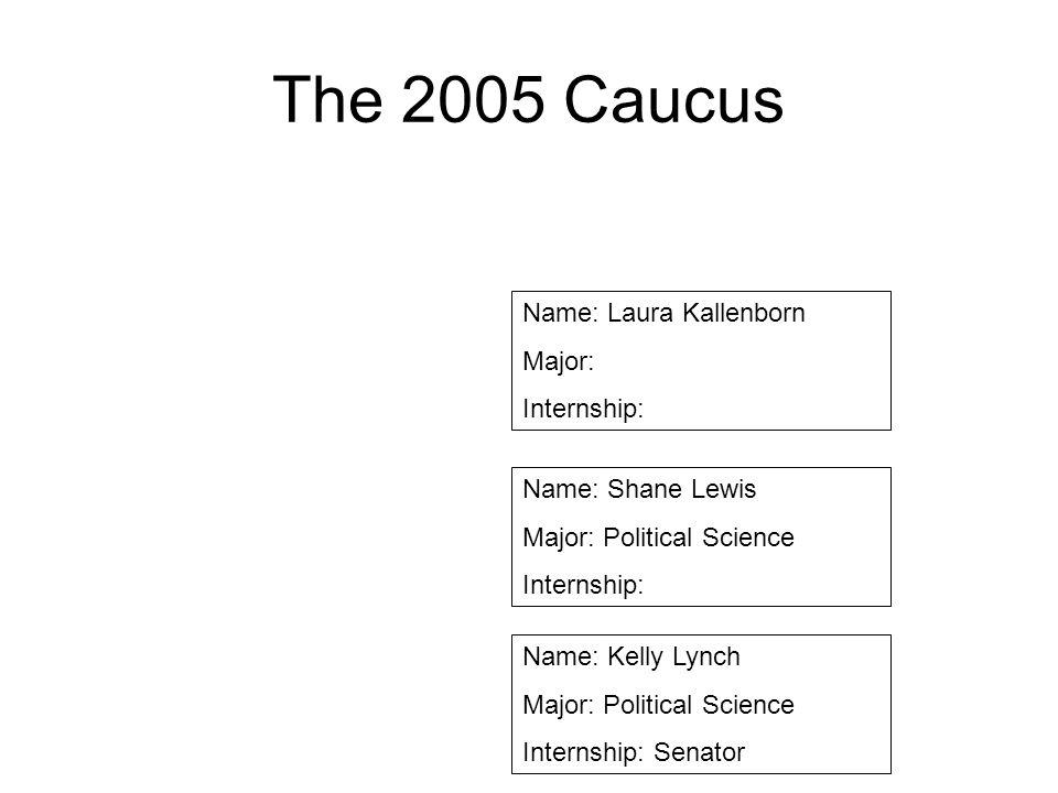 The 2005 Caucus Name: Laura Kallenborn Major: Internship: