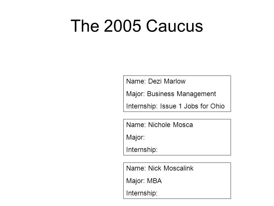 The 2005 Caucus Name: Dezi Marlow Major: Business Management
