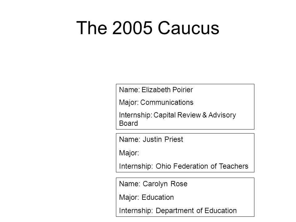 The 2005 Caucus Name: Justin Priest Major: