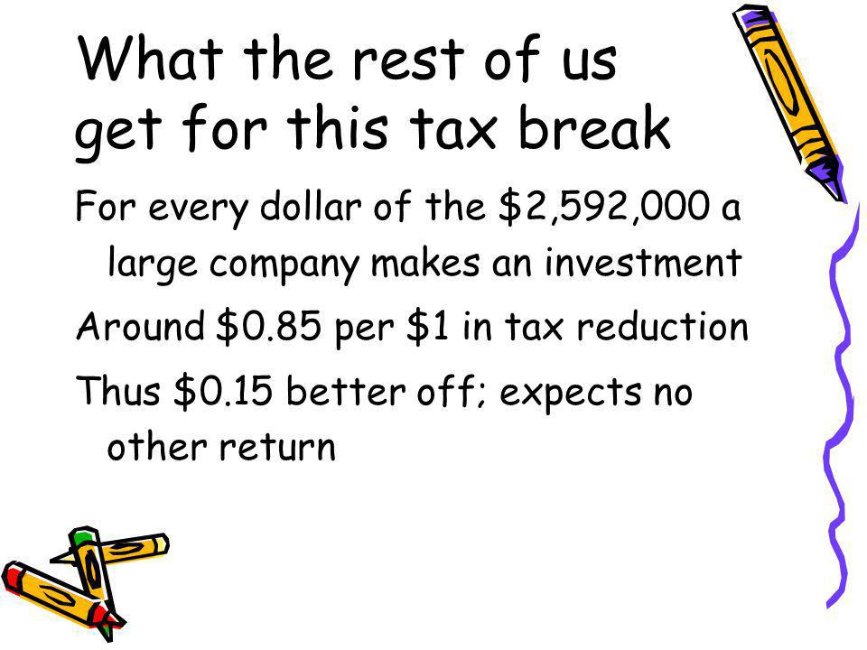 What the rest of us get for this tax break