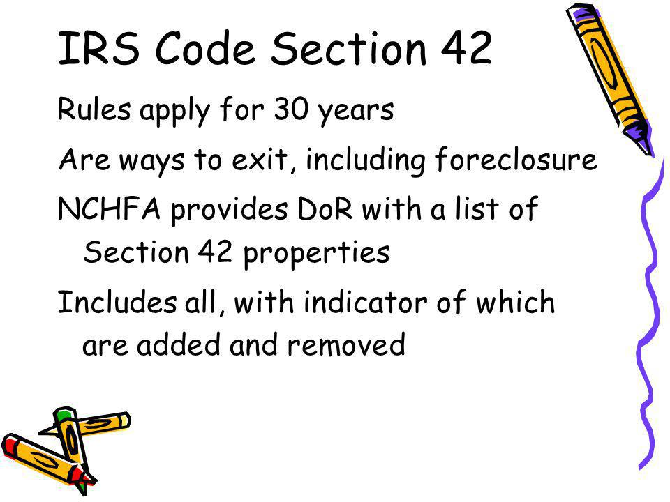 IRS Code Section 42 Rules apply for 30 years