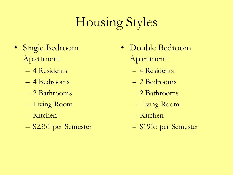 Housing Styles Single Bedroom Apartment Double Bedroom Apartment