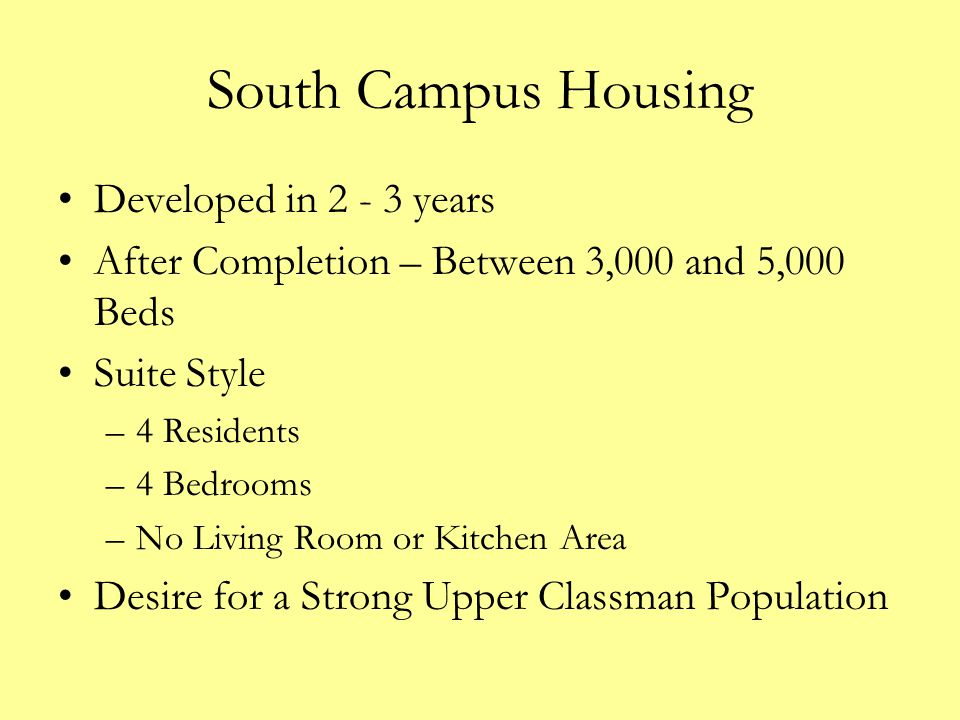 South Campus Housing Developed in 2 - 3 years