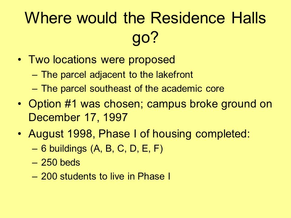 Where would the Residence Halls go