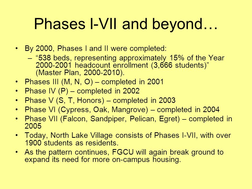 Phases I-VII and beyond…