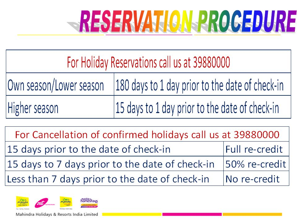 RESERVATION PROCEDURE