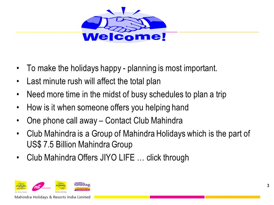 To make the holidays happy - planning is most important.
