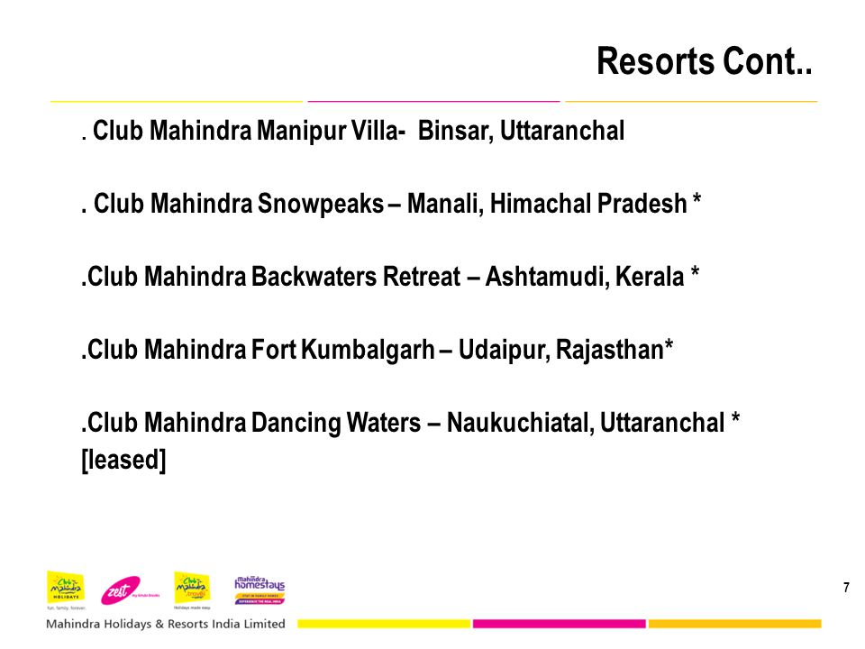 Resorts Cont.. . Club Mahindra Snowpeaks – Manali, Himachal Pradesh *
