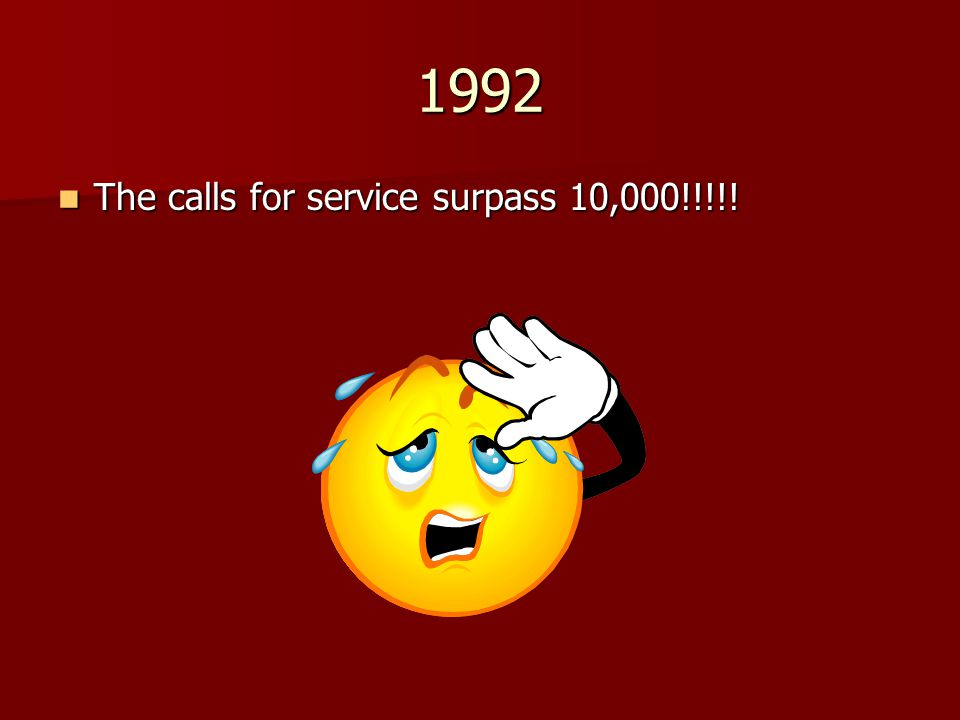 1992 The calls for service surpass 10,000!!!!!