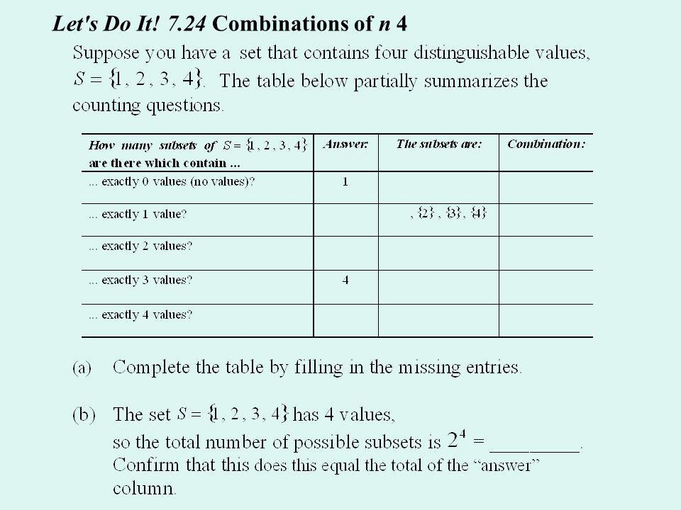 Let s Do It! 7.24 Combinations of n 4