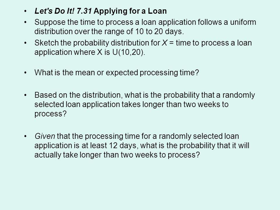 Let s Do It! 7.31 Applying for a Loan