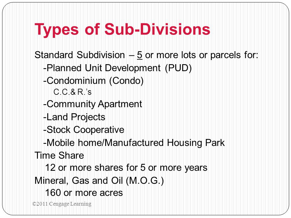 Types of Sub-Divisions