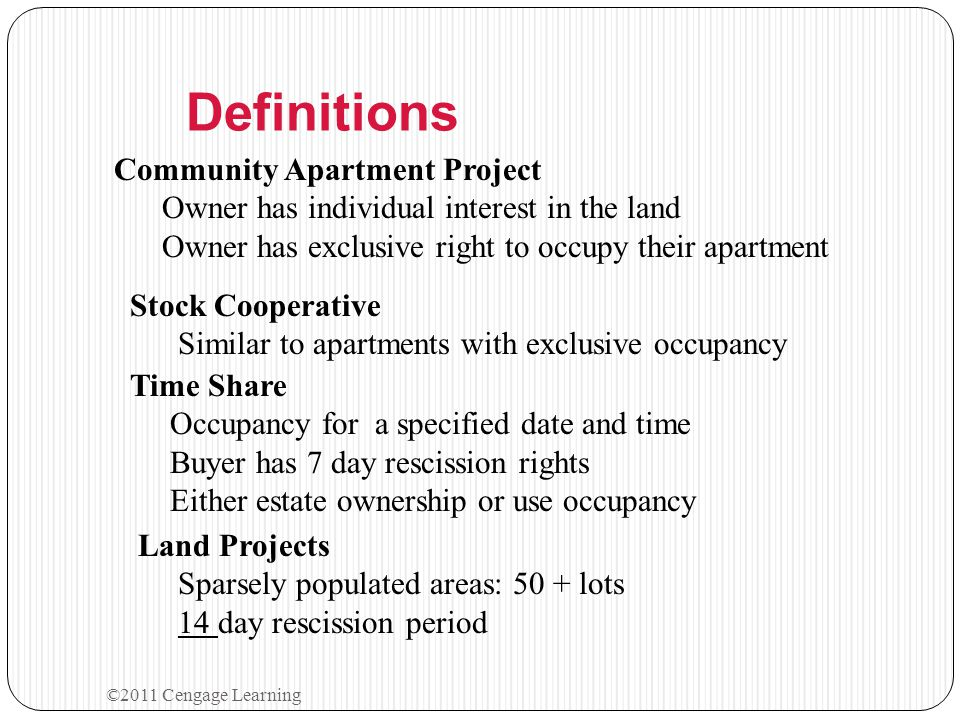 Definitions Community Apartment Project