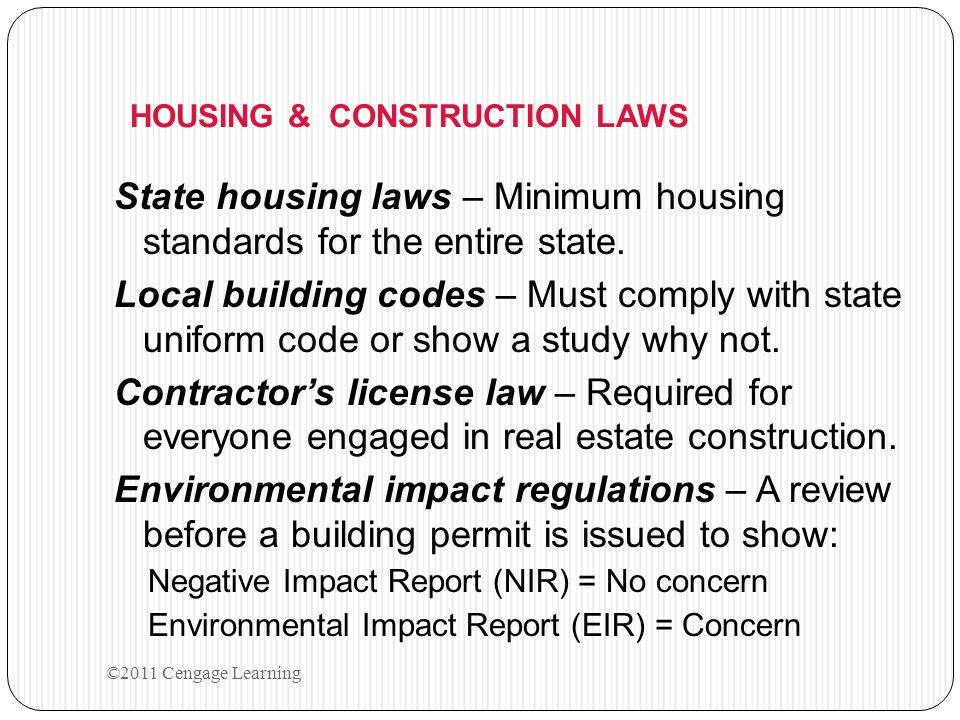 HOUSING & CONSTRUCTION LAWS