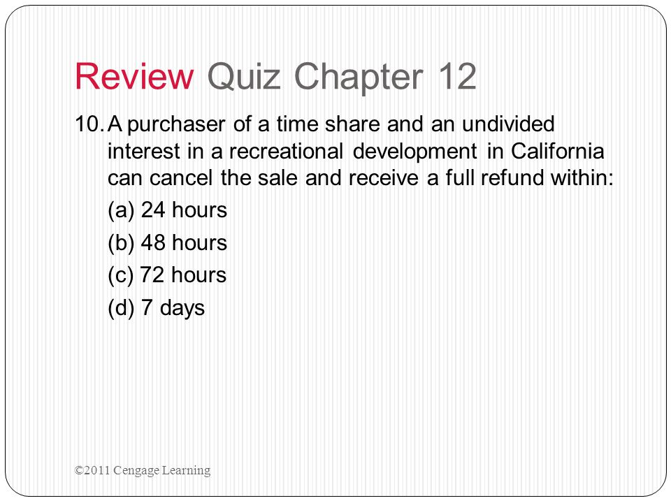 Review Quiz Chapter 12