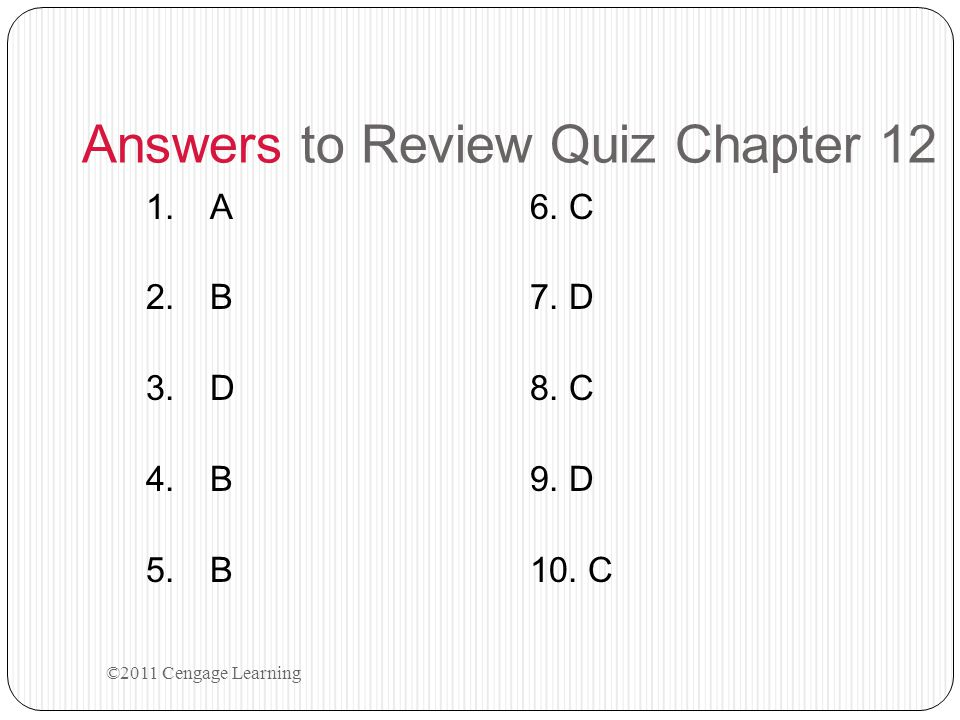 Answers to Review Quiz Chapter 12