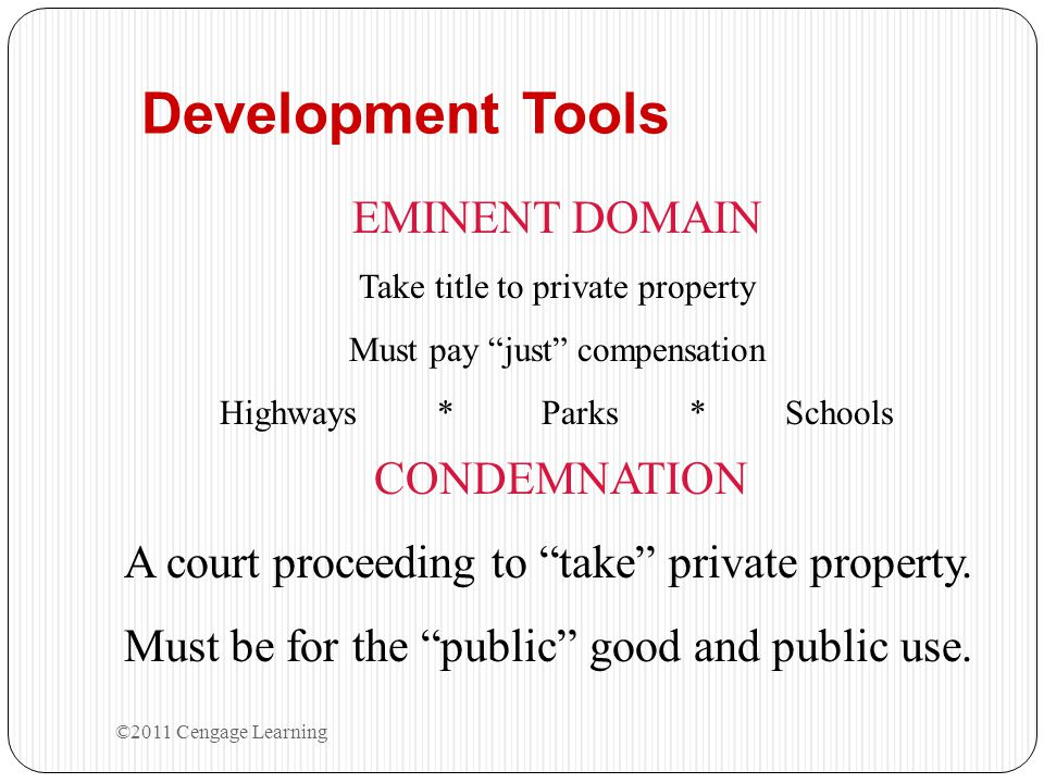 Development Tools EMINENT DOMAIN CONDEMNATION