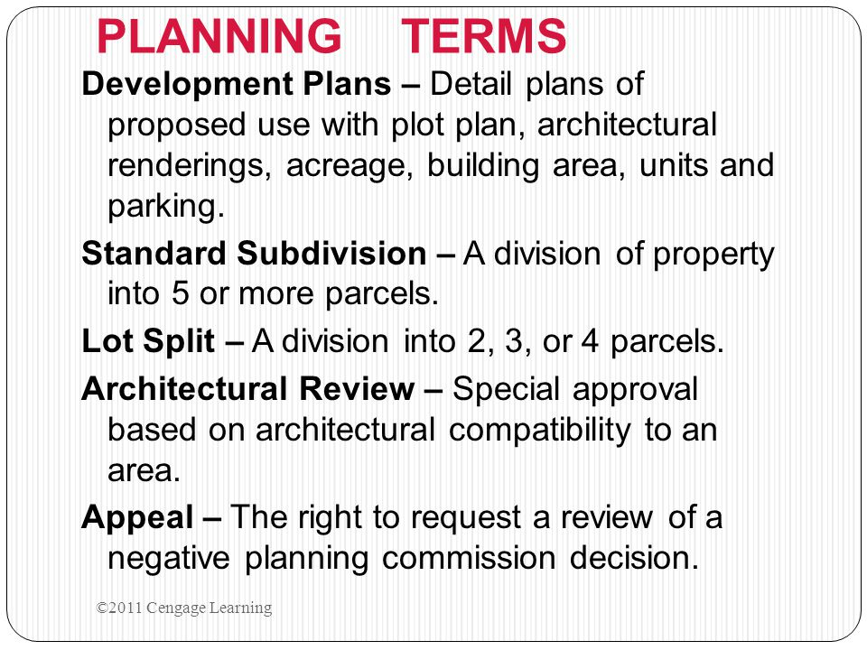 PLANNING TERMS