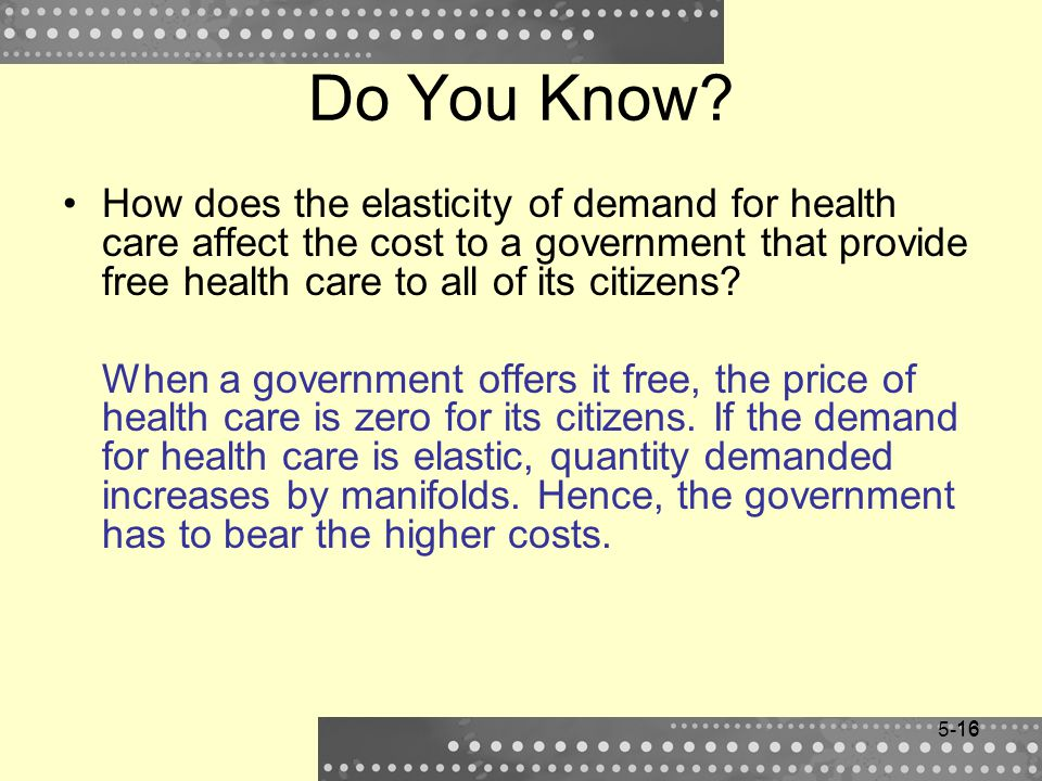 Do You Know How does the elasticity of demand for health care affect the cost to a government that provide free health care to all of its citizens