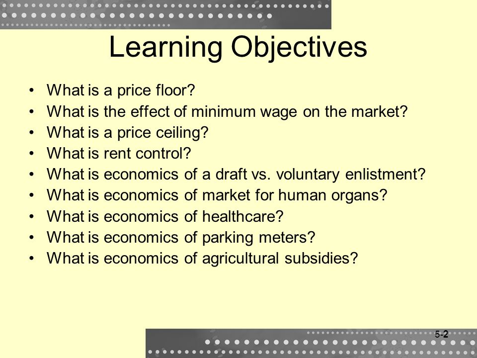 Learning Objectives What is a price floor
