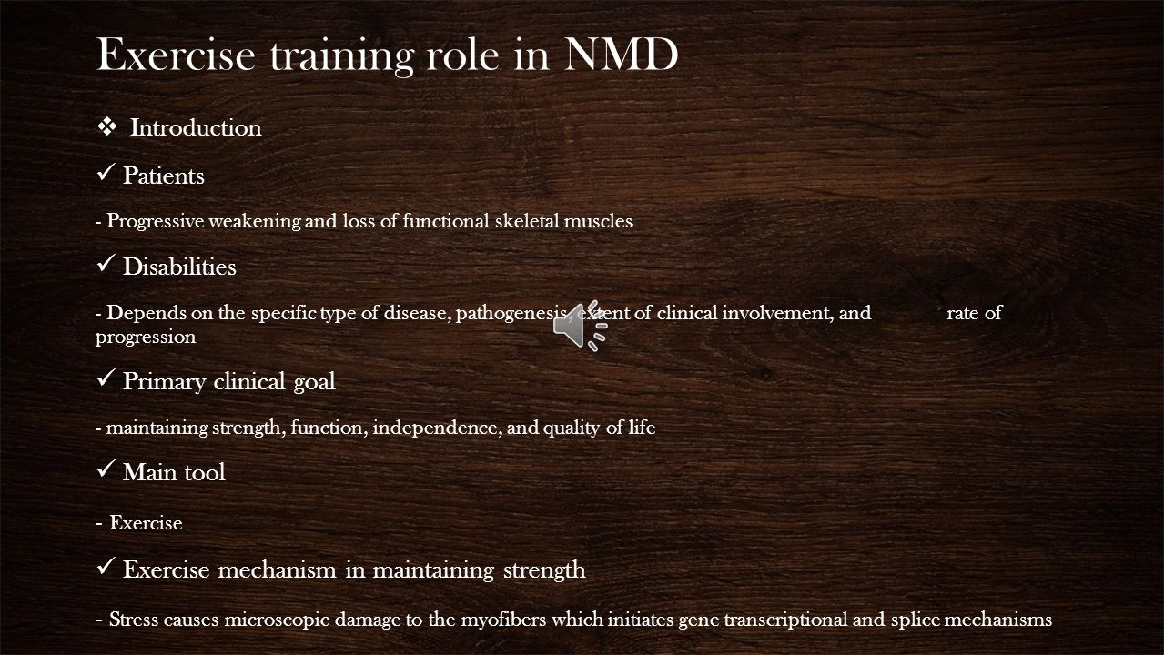 Exercise training role in NMD