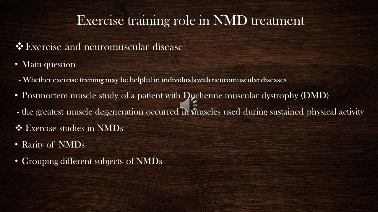 Exercise training role in NMD treatment