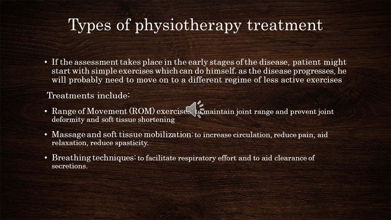Types of physiotherapy treatment